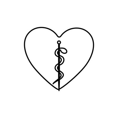 entwined: monochrome contour with health symbol with serpent entwined inside of heart vector illustration