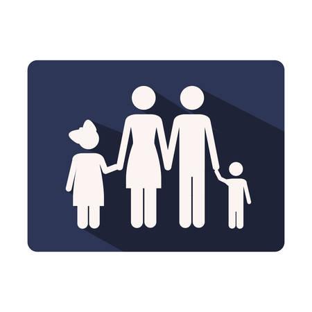 kleur silhouet frame met familie kern vectorillustratie