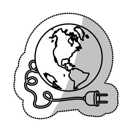 mundo contaminado: monochrome silhouette sticker with world and power cord with stain petroleum vector illustration