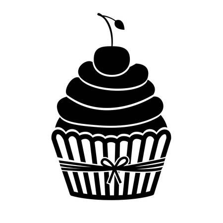 monochrome silhouette with cupcake and cherry vector illustration