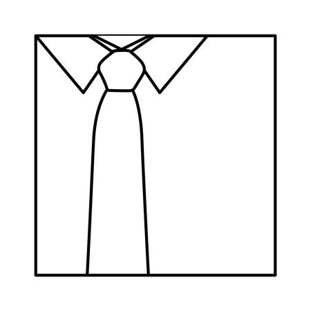 fullbody: monochrome contour with shirt and tie close up vector illustration