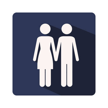 couple holding hands: color silhouette frame with couple holding hands vector illustration Illustration