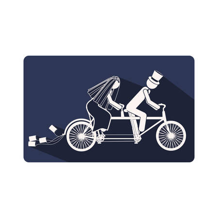 color silhouette frame with couple just married in bike vector illustration