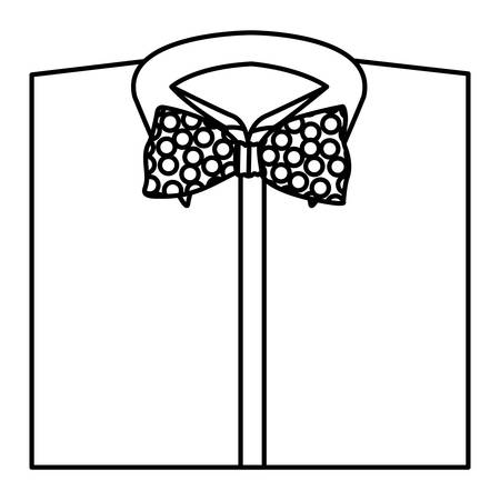 fullbody: monochrome contour with shirt and bow tie close up vector illustration
