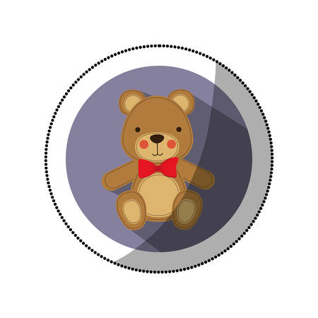 sticker color silhouette with teddy bear in round frame vector illustration Illustration