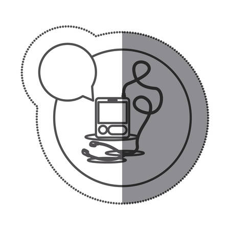 circular silhouette: sticker circular silhouette with tech portable music device with headphones and dialog box vector illustration