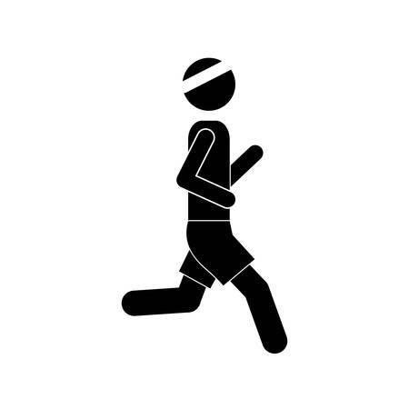 jog: pictogram man jogging icon design vector illustration