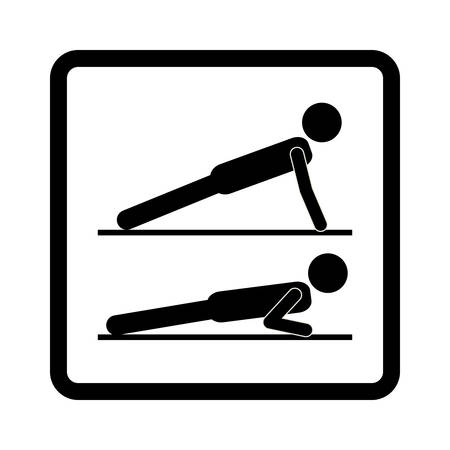 legs up: square shape with pictogram man in push up