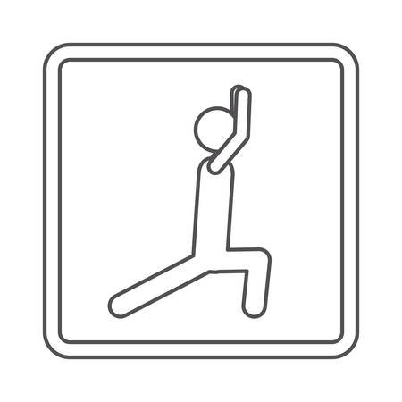 squat: contour square shape pictogram with man squat icon