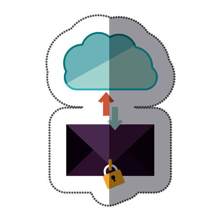 enveloped: sticker blue cloud with arrows in opposite direction with enveloped and padlock vector illustration