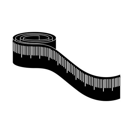 cintas metricas: monochrome silhouette with measure tape vector illustration Vectores