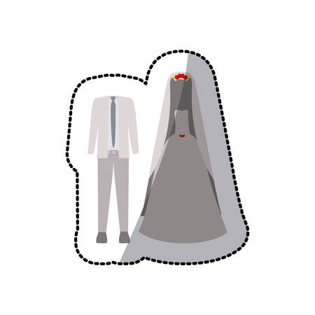 hairband: sticker color silhouette with costume wedding vector illustration
