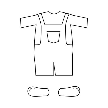 hosiery: silhouette with male clothing pijama mameluke short vector illustration
