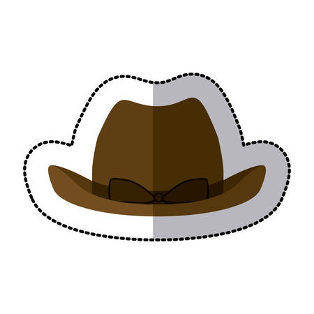 sticker lace cowboy hat with bow retro design vector illustration