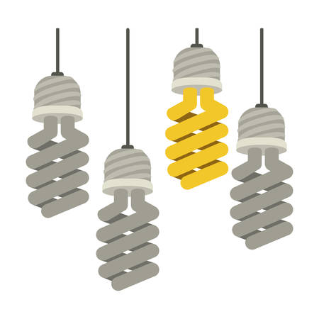 colorful hanging modern light bulb off vector illustration