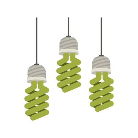 colorful hanging modern light bulb on vector illustration Illustration