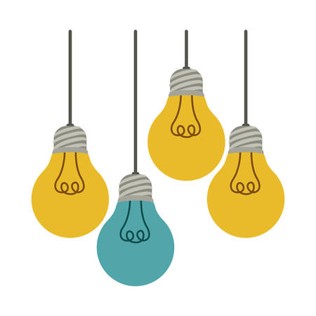 colorful hanging bulbs with filaments illuminated vector illustration Illustration