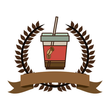 color silhouette with olive crown with ribbon and disposable glass of cappuccino with straw vector illustration Illustration