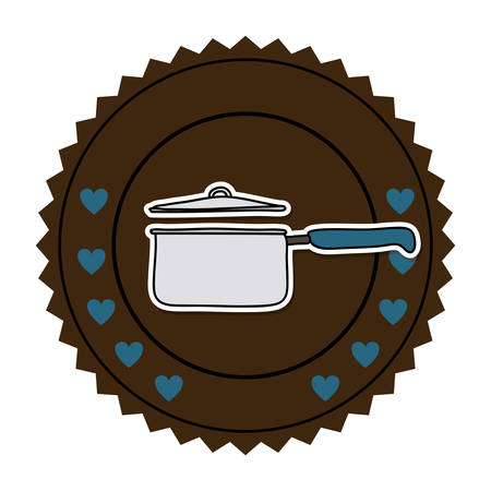 color round frame with pans with handling and hearts vector illustration Illustration