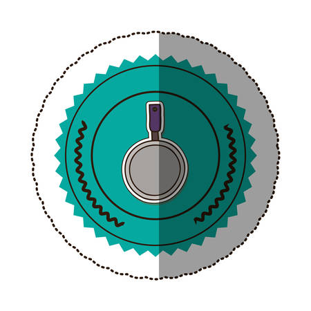 sticker color round frame with pans with handling vector illustration