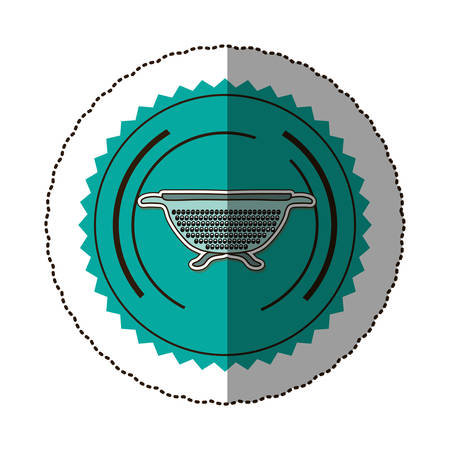 drainer: sticker color round frame with kitchen drainer vector illustration