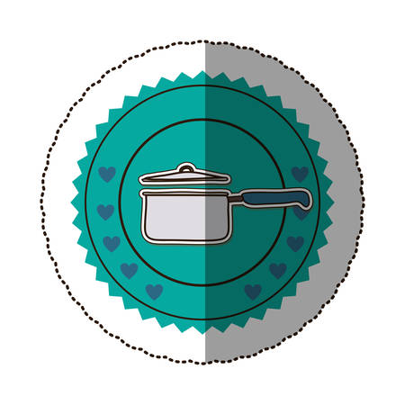 sticker color round frame with pans with handling and hearts vector illustration