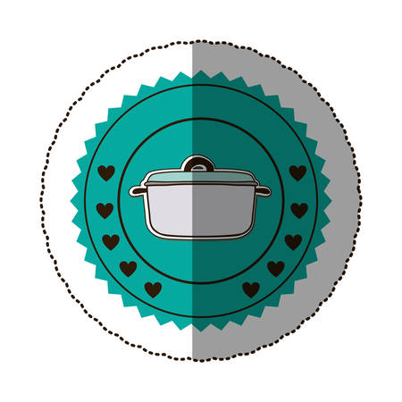sticker color round frame with pans vector illustration