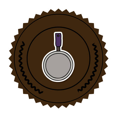 color round frame with pans with handling vector illustration