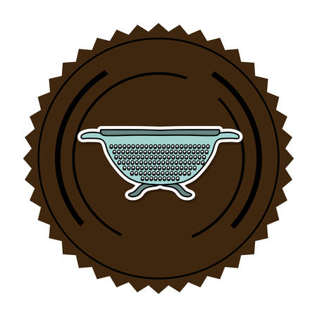 drainer: color round frame with kitchen drainer vector illustration