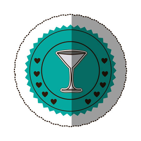 sticker color round frame with martini glass vector illustration