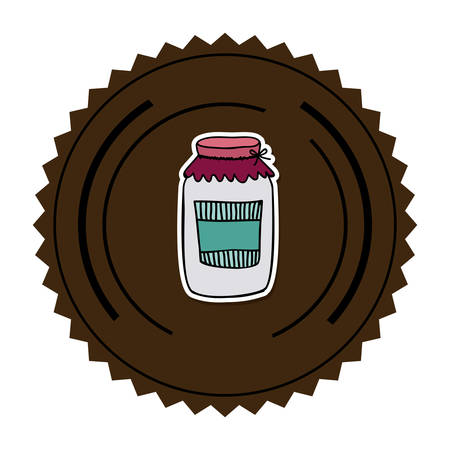 pasteurized: color round frame with glass jam vector illustration Illustration