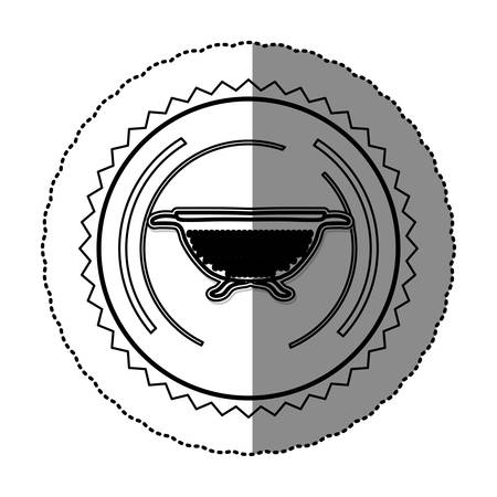 drainer: monochrome sticker round frame with kitchen drainer vector illustration