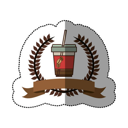 sticker color silhouette with olive crown with ribbon and disposable glass of cappuccino with straw vector illustration