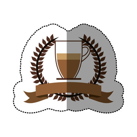 sticker color silhouette with olive crown with ribbon and glass jar of coffee with handle vector illustration
