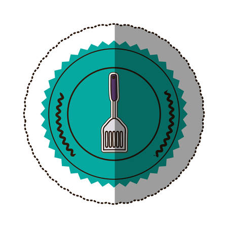 sticker color round frame with frying spatula . Vector illustration Illustration