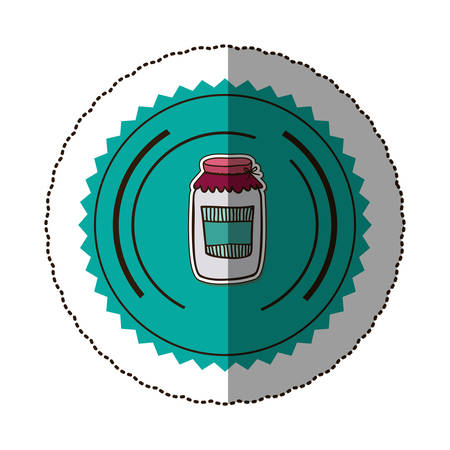 pasteurized: sticker color round frame with glass jam vector illustration