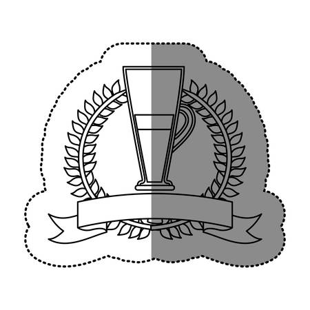 monochrome sticker with olive crown with ribbon and cofee cocktail vector illustration