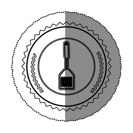 utensilios de cocina: etiqueta engomada monocroma redondo marco con ilustración de vector de espátula de freír