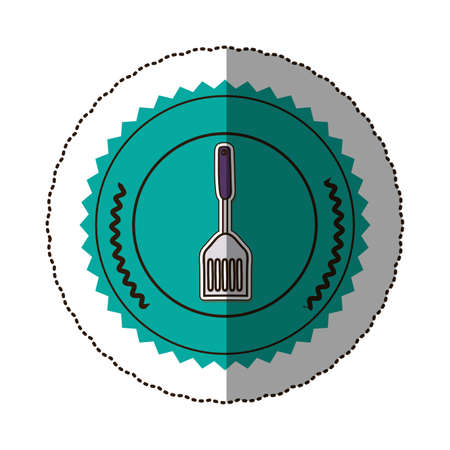 sticker color round frame with frying spatula . Vector illustration Stock Photo