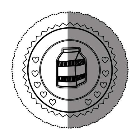 envase de leche: monochrome sticker round frame with milk carton vector illustration