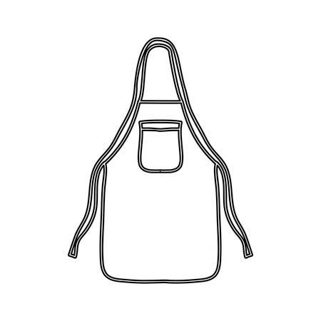 protective apron: silhouette kitchen apron cloth icon vector illustration