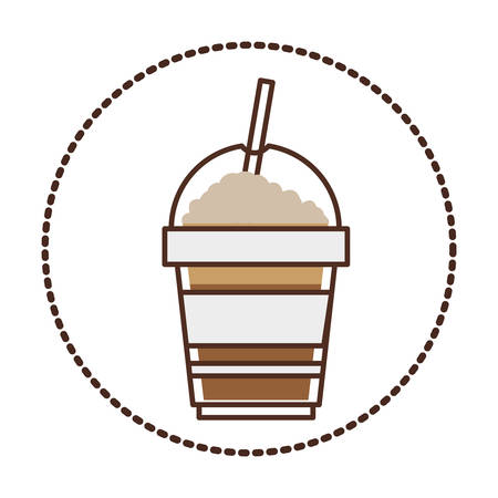 recipient: sticker circular shape with glass disposable of cappuccino with Skinny drinks vector illustration Illustration