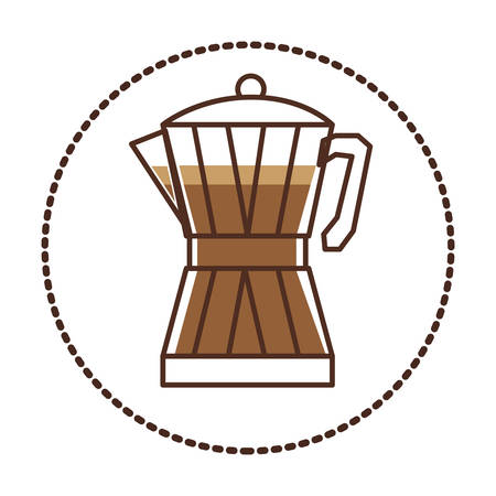circular sticker glass jar of coffee with handle vector illustration