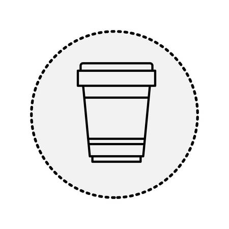 recipient: sticker circular shape silhouette glass disposable for hot drinks with lid vector illustration