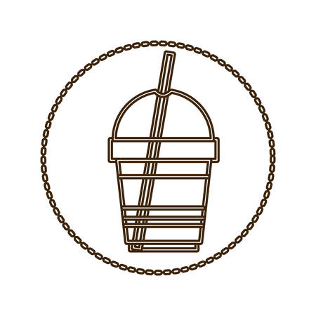 monochrome round contour with disposable glass of cappuccino with straw vector illustration Illustration
