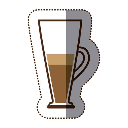 silhouette color sticker with coffee cocktail vector illustration
