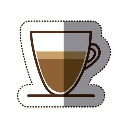 silhouette color sticker with coffee cup close up vector illustration Illustration