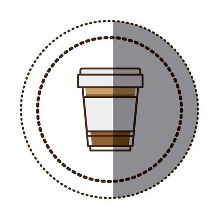 recipient: color sticker in circular frame with disposable glass of cappuccino close up vector illustration Illustration