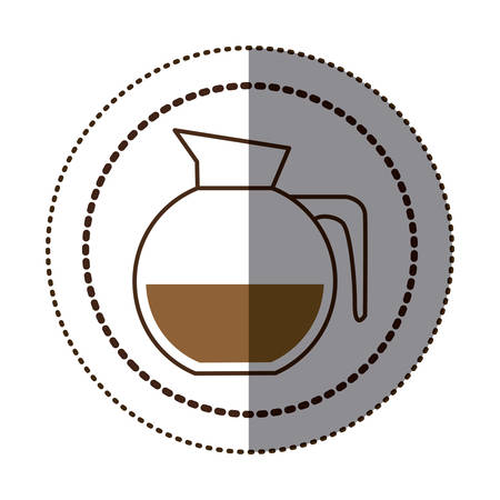 glass jar: color sticker in circular frame with rounded glass jar of coffee with handle vector illustration