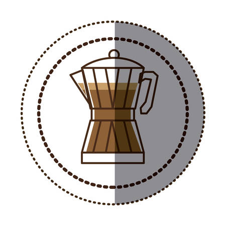 color sticker in circular frame with glass jar of coffee with handle vector illustration Illustration